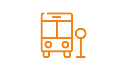 Line drawing of a bus at a stop.