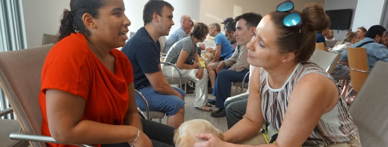 Image showing people in pairs at event talking