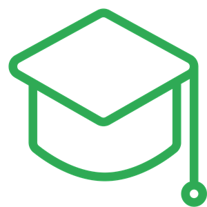 Icon of mortar board in green denoting Education theme