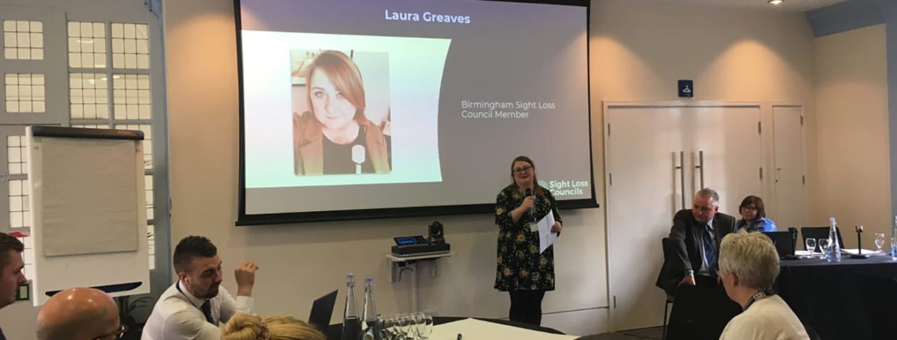 Image showing Laura Greeves presenting to a group of people