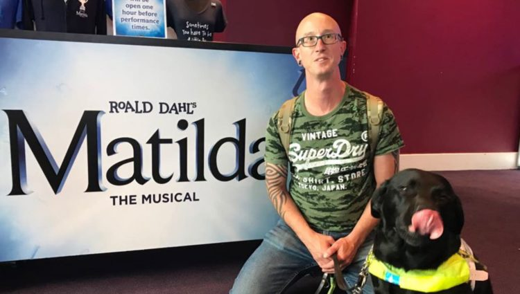 Image showing man at the Birmingham Hippodrome with his guide dog