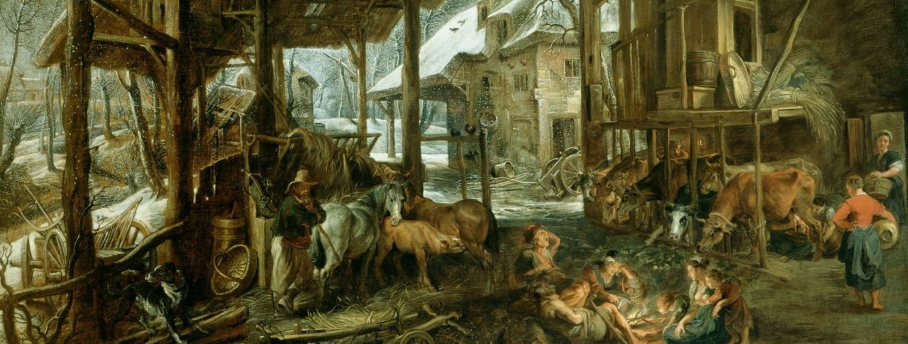 A painting by Rubens depicting a wintry scene of an open barn. A group of people are gathered around a small fire, one man tends to horses and others tend to the cattle which are grazing hay.