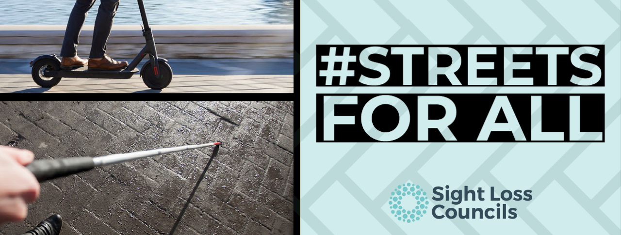 Campaign banner for Streets for All campaign, depicts a man on a escooter and a cane being held over pavement.
