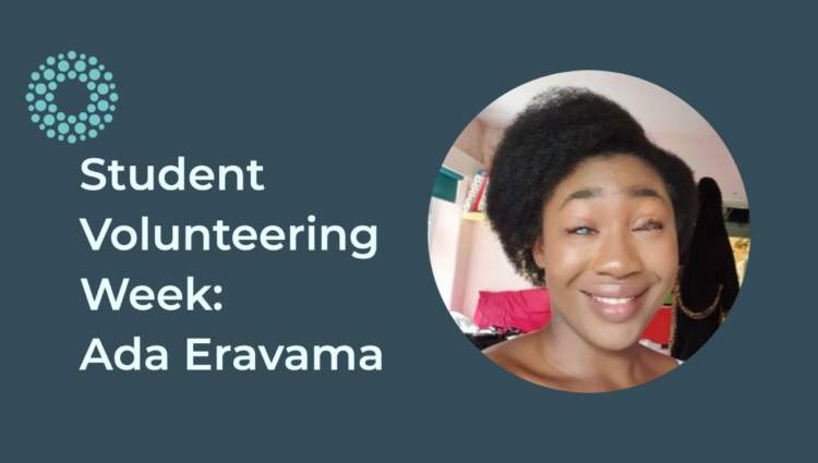 Student Volunteering week graphic with a picture of ada smiling