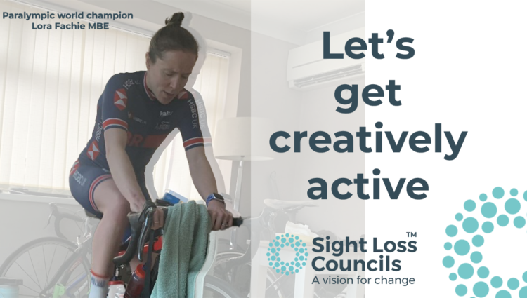 Let's get creatively active banner featuring Lora riding a stationary racing bike