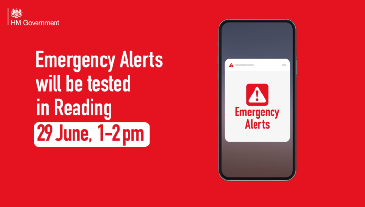 Red banner with HM Government logo and a mobile phone reads Emergency Alerts will be tested in Reading 29 June, 1-2pm