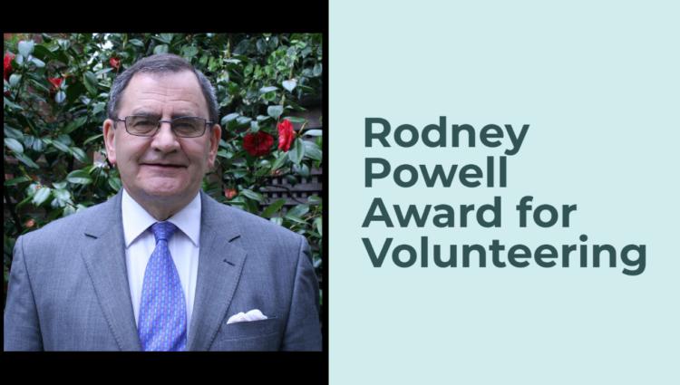 Banner text description Rodney Powell Award for Volunteering.