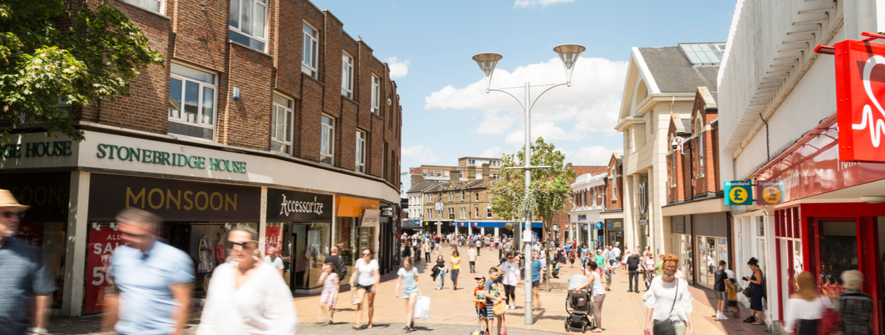 Essex Sight Loss Council: a busy high street in Chelmsford Essex